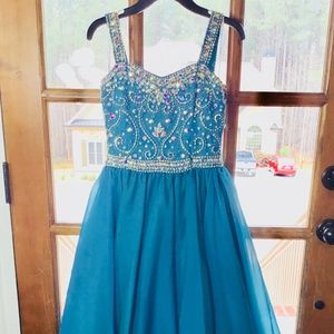 Tiffany Princess Teal Gown Size 8